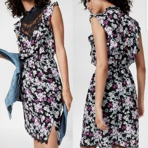 Express Floral High Neck Lace Ruffle Dress
